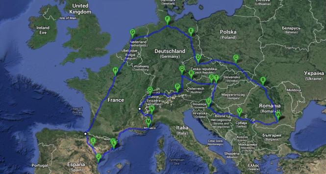 Traseu Europa in 80 de zile